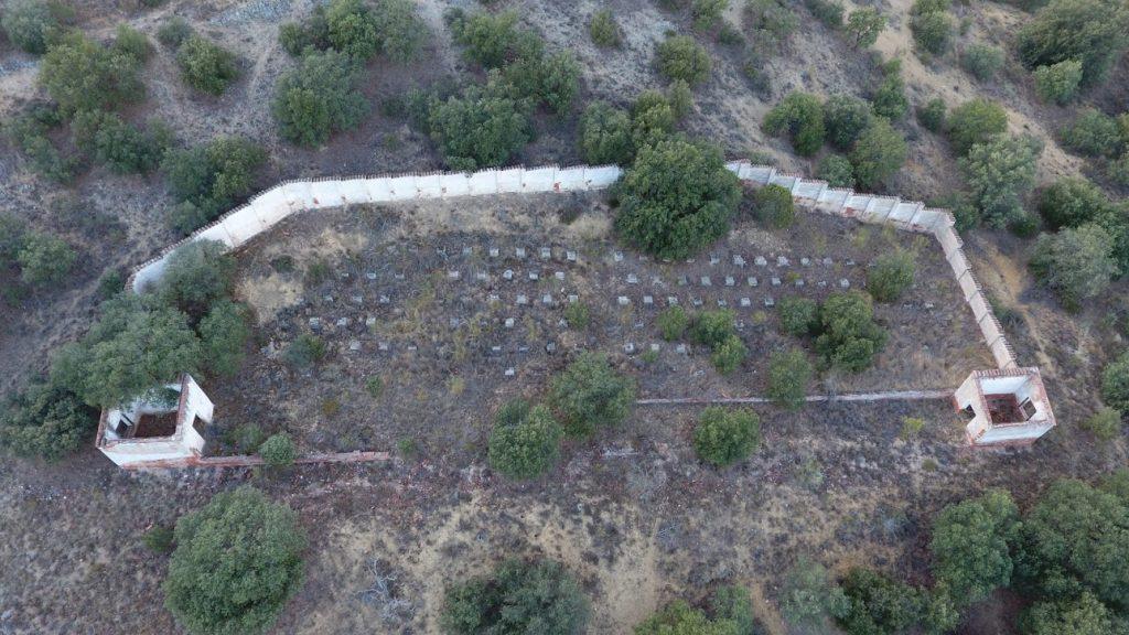 colmenar para la producción de miel  a vista de dron